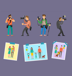 Team of photographers with professional equipment vector