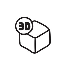 Three d box sketch icon vector