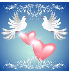 Two dove on blue background with pink hearts vector image