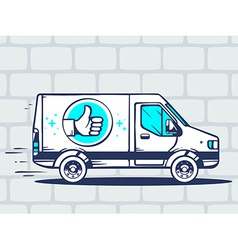 Van with label thumb up free and fast del vector