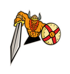 Viking warrior sword and shield mascot vector