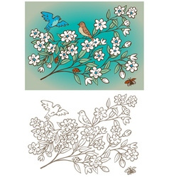 vintage birds and flowers vector image