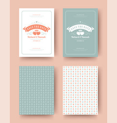 wedding invitation save the date cards vintage vector image