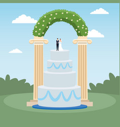 Weeding cake and floral arch over landscape vector