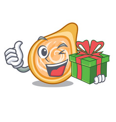 With gift chicken coxinha isolated on a mascot vector