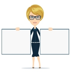 Woman showing blank white billboard vector