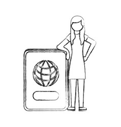 woman standing with id passport travel hand vector image