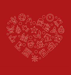 Xmas attributes in heart shape linear vector