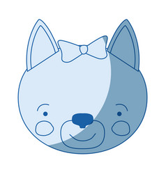 Blue color shading silhouette face of female cat vector