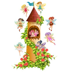 Fairies and tower vector image vector image