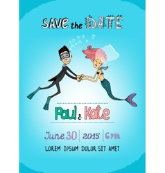 Save The Date underwater themed card vector image vector image