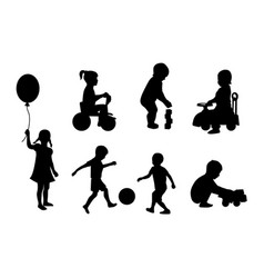 Set of silhouettes of children playing vector