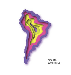 south america map in paper cut style vector image