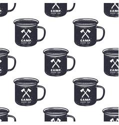 vintage hand drawn camp mug pattern design vector image vector image