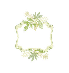 green doodle flower hand drawn frame vector image