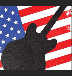 guitar silhouette over flag vector image