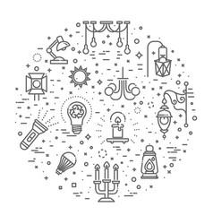 Lamp flat icon set vector