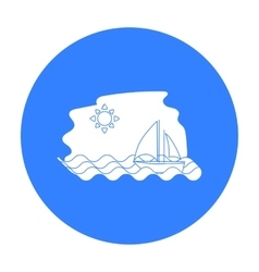 Sailing boat on the sea icon in black style vector image