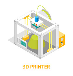 3d printer flat design style isometric view vector image
