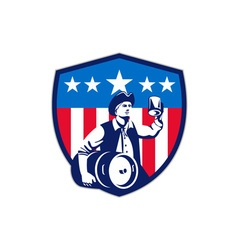 American Patriot Beer Keg Flag Crest Retro vector image vector image