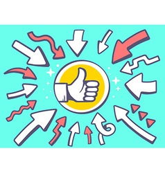 arrows point to icon of thumb up on green vector image