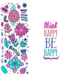 card design flowers and leaf doodle elements vector image vector image