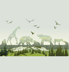double exposure wild animals and forest vector image vector image