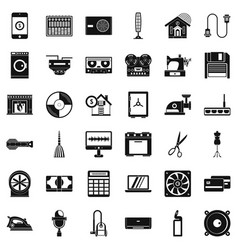 Home appliance icons set simple style vector