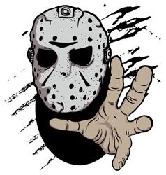 Horror hockey mask halloween vector