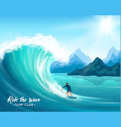 surfer and big wave vector image vector image