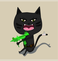 aggressive cat is a terrorist with a gun cute vector image vector image