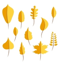 Autumn yellow withered leaves in flat style set vector image