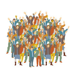 big crowd happy people isolate on white vector image
