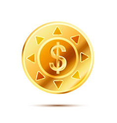 Bright glossy golden coin with dollar sign on vector