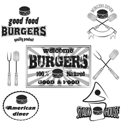 Burgers house poster on chalkboard and set logos vector image vector image
