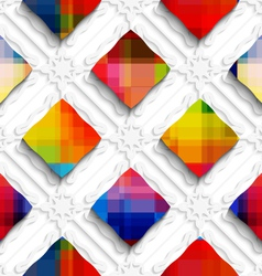 Rainbow colored rectangles on white ornament vector image vector image
