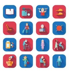 Senior lifestyle flat icons vector