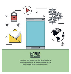 white background poster of mobile app with vector image vector image