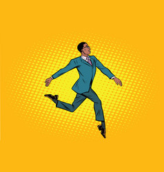 african businessman runs forward elegantly vector image