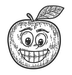 Apple with a comic face sketch scratch board vector