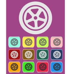 Auto wheel tire icon isolated vector image