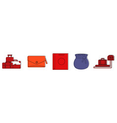 Bags icon set color outline style vector
