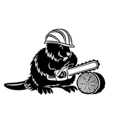 Beaver icon with chainsaw vector