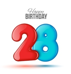 birthday 3d greeting card with numbers 28 twenty vector image
