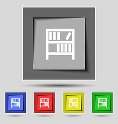 Bookshelf icon sign on the original five colored vector