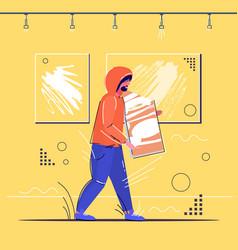 burglar stealing museum exhibits crime scene vector image