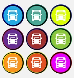 Bus icon sign Nine multi colored round buttons vector