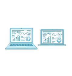 business charts on laptop desktop screen finance vector image