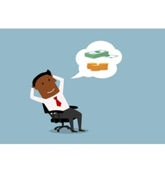 Businessman dreaming about money and wealth vector