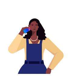Businesswoman leader in formal wear talking phone vector